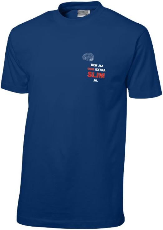 T-shirt 'benjijookextraslim.nl' - Blauw